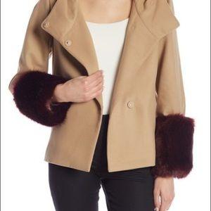 NWT. Laundry By Shelli Segal faux fur trim jacket